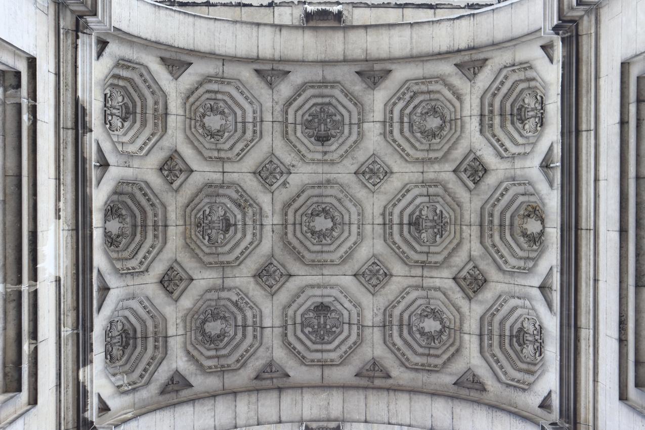 Underside of the Arcades du Cinquantenaire, Brussels 2020